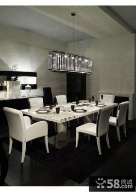 两房两厅冷色调餐厅装修效果图