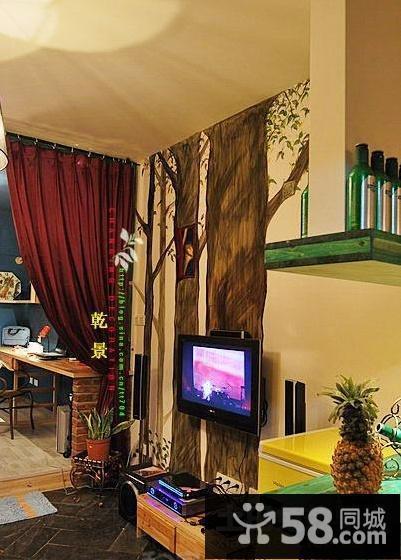 小瓷砖电视背景墙