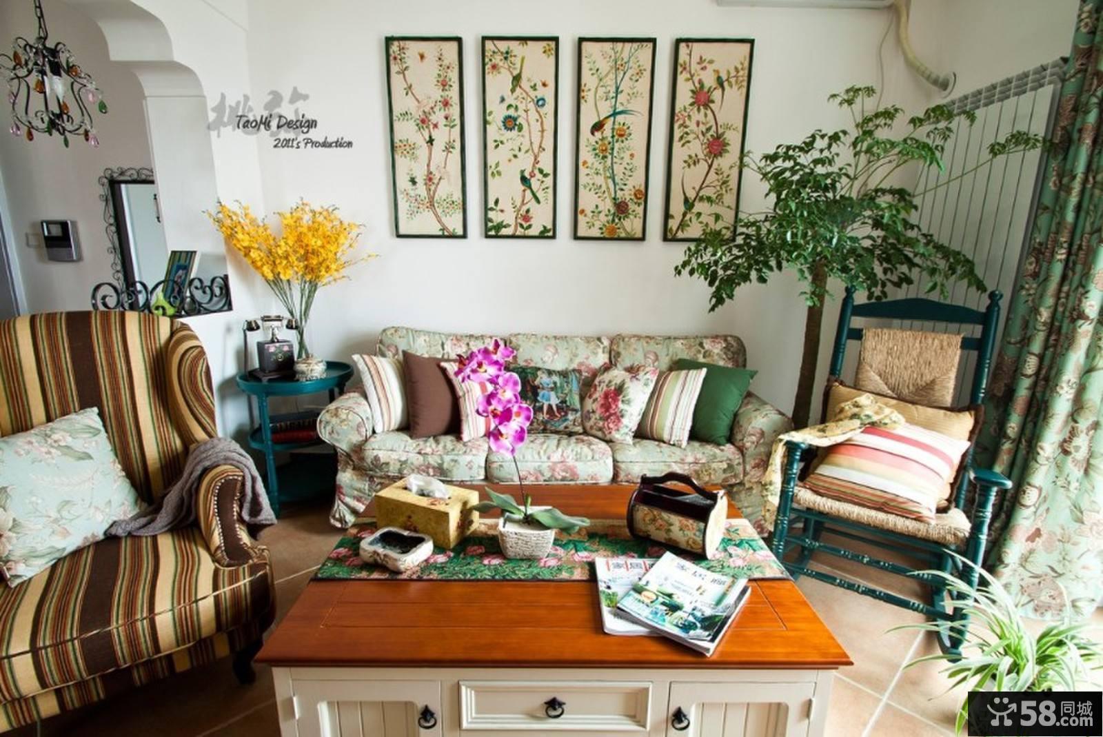 美式田园风格花园别墅客厅装修效果图