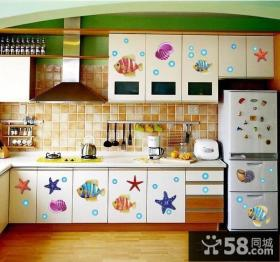 开放式厨房橱柜贴纸装修效果图