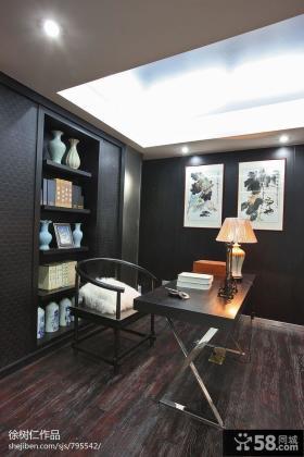 中式书房吊顶书柜装修效果图片