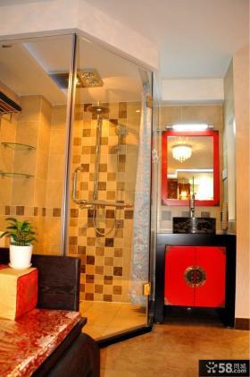现代中式卧室卫生间装修效果图