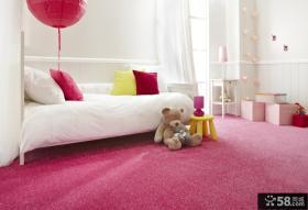 儿童房粉色地毯图片
