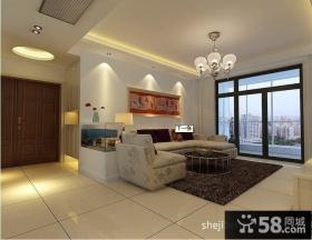 客厅米白色地板砖装修设计