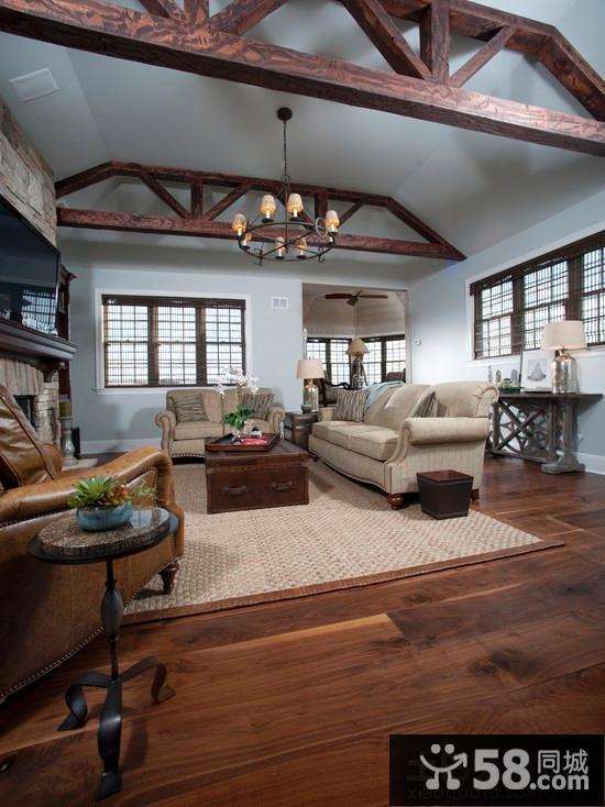 别墅客厅实木复合地板图片