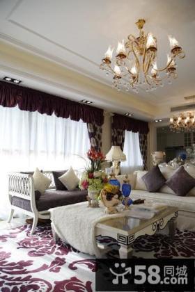 欧式风格两室两厅客厅装修效果图片