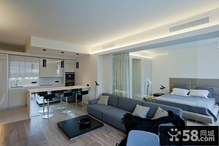 现代简约小户型客厅卧室玻璃隔断装修效果图