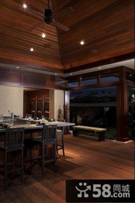 美式暗色调餐厅装修效果图