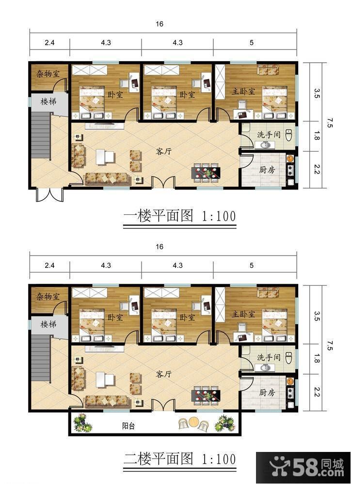 二层楼房室内设计平面图 - 58装修效果图