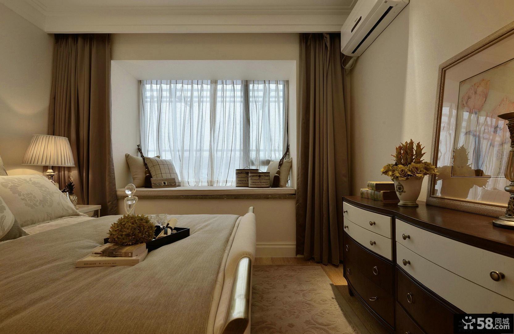 卧室飘窗纯色窗帘效果图片