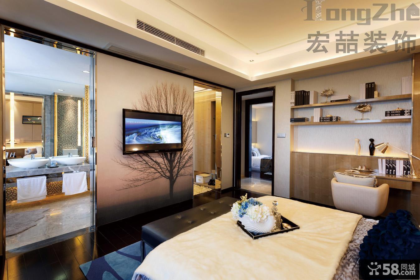 现代主卧室电视墙装修效果图