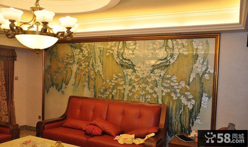 客厅沙发字画背景墙装饰效果图