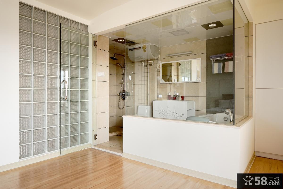 最新卫生间玻璃隔断效果图片