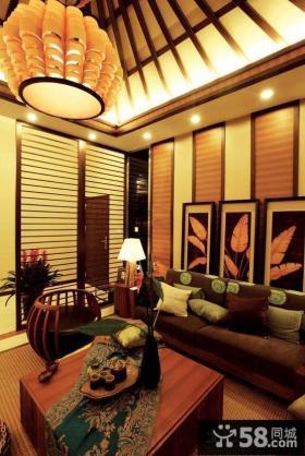 东南亚房屋挑高客厅装修