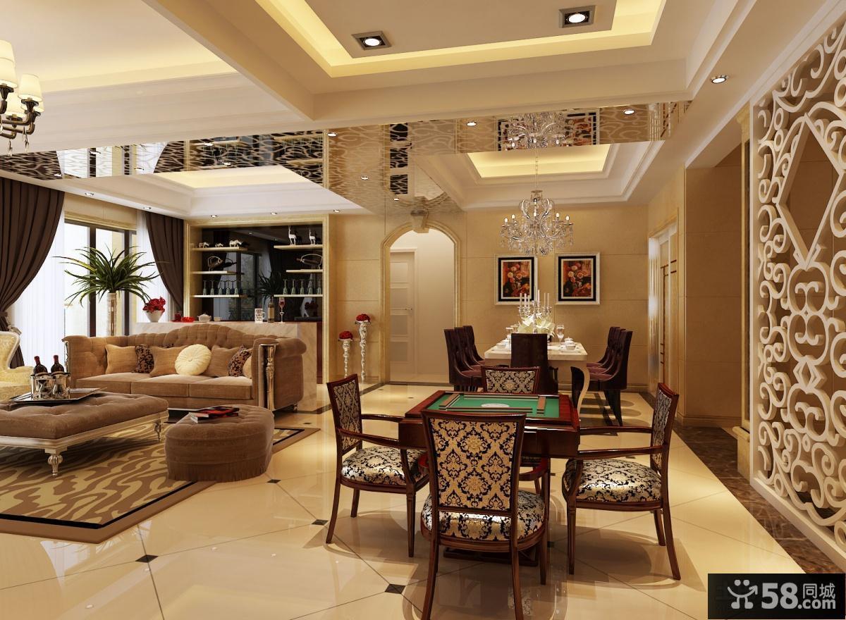 美式客厅餐厅一体装修效果图欣赏