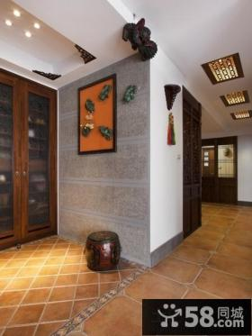 中式风格玄关背景墙挂画装饰效果图