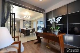 现代三居室书房实木书桌装饰图片