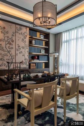 时尚豪华新中式书房设计