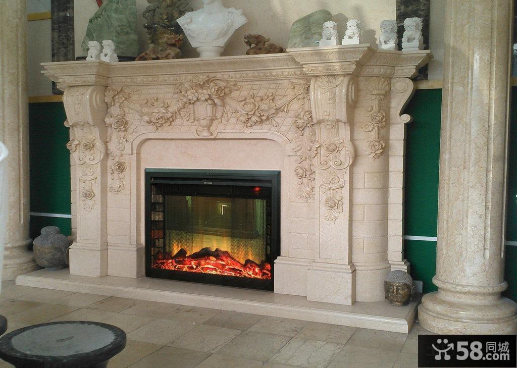 别墅欧式壁炉背景墙效果图