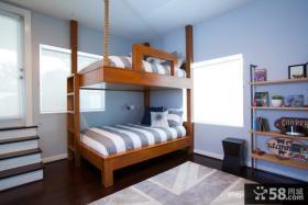 儿童房卧室实木双层床图片