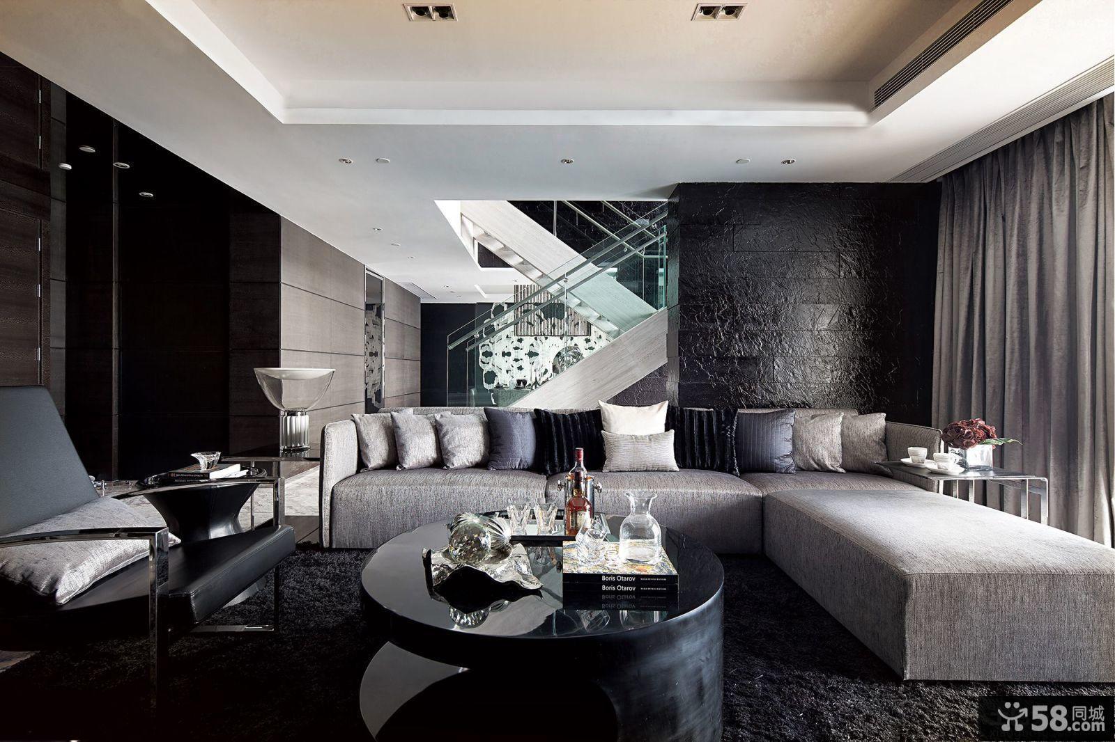 現代風格躍層式三居客廳裝修效果圖