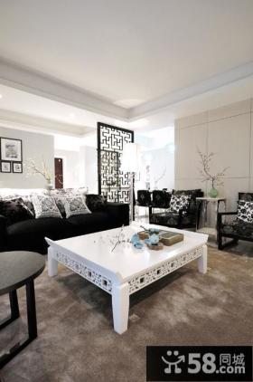 时尚黑白中式两居室装修案例