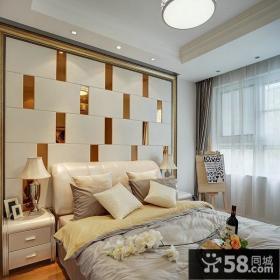 田园风格三居卧室个性化背景墙效果图