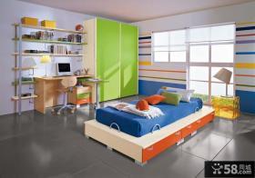 现代儿童房卧室床效果图