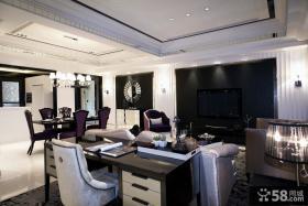 现代简欧风格客厅书房装修效果图大全2013图片