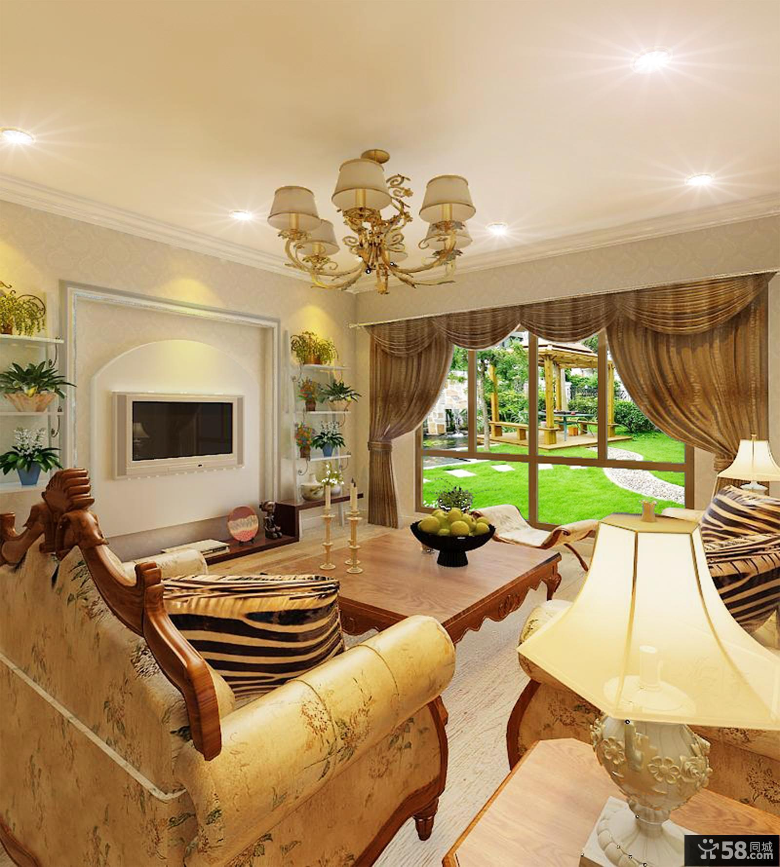 欧式风格别墅客厅电视背景墙设计效果图