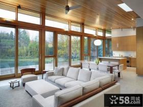 全部木质的简约美式风格装修客厅图片