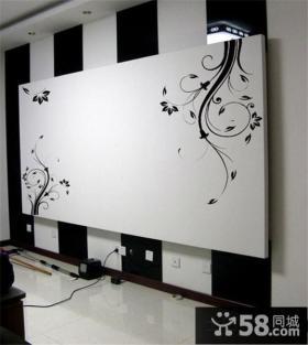 现代电视背景墙壁画图片