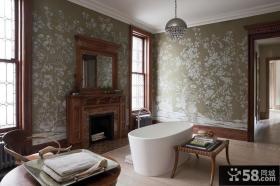 欧式奢华卫生间壁纸装修效果图