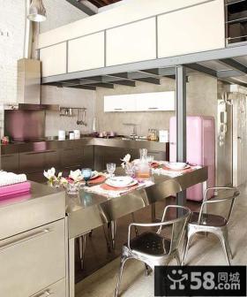 蓝色厨房吧台设计图