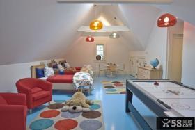 现代简约风格尖顶阁楼儿童房间装修效果图大全2013图片