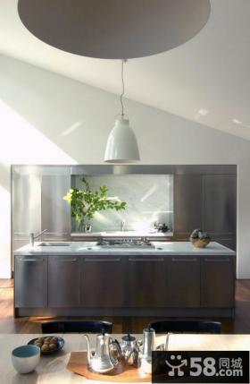 灰色厨房橱柜装修效果图 厨房吊顶装修