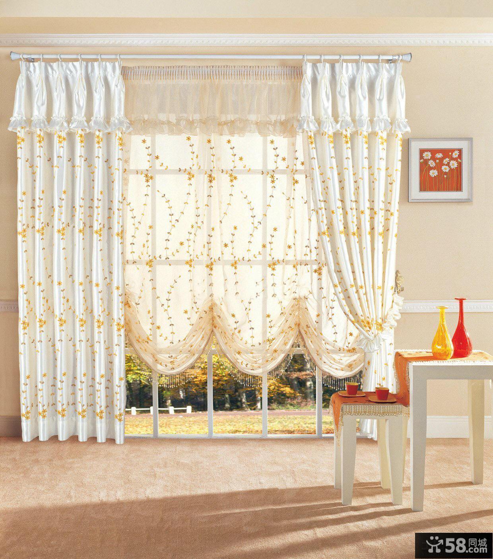 欧式田园客厅窗帘效果图