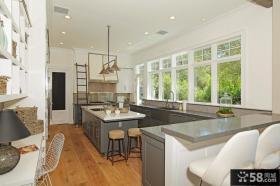 开放式灰色调厨房装修效果图大全2012图片