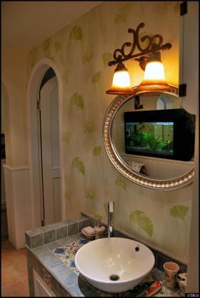 日式田园风格两室两厅卫生间洗脸盆装修效果图欣赏