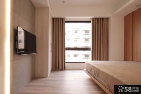 家居卧室纯色窗帘效果图片