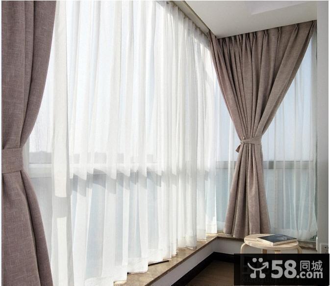 现代简约客厅落地窗帘效果图片大全