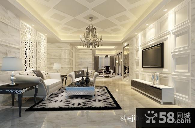 简约欧式客厅电视墙造型效果图片