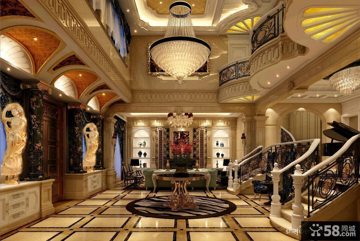 欧式古典别墅客厅吊顶效果图