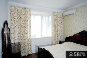 田园卧室飘窗窗帘效果图