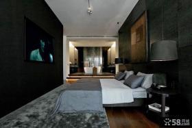 现代宜家黑色风格装修卧室效果图