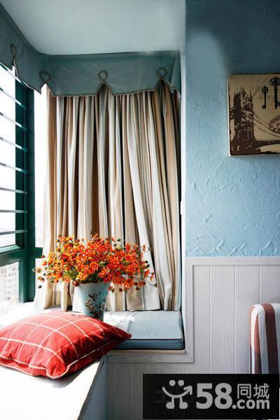 粉色系活动室飘窗窗帘图片