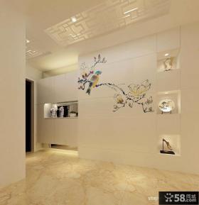 中式玄关彩色墙绘装修效果图