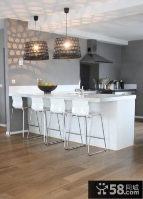 现代简约风格厨房吧台设计效果图