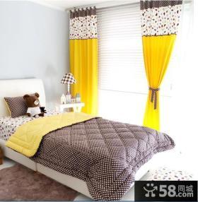 橙色卧室窗帘效果图欣赏