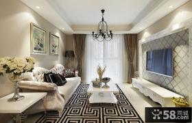 欧式轻奢华80平米家居设计装修效果图